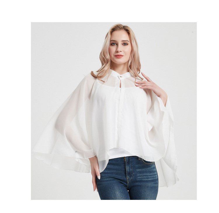 2020 New Style Driving And Cycling Button Pure White Sun Protection Clothes Ladies Chiffon Shawl Cloak Sunshade 5