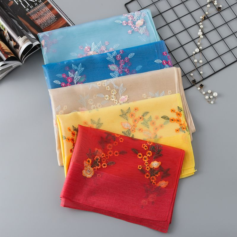 Solid Color Summer New Linen Silk Scarf, Seaside Sunscreen Beach Towel Shawl 2