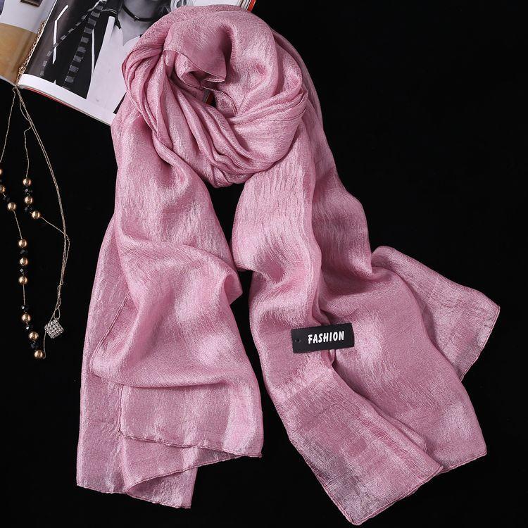 2PCS Summer New Linen Silk Scarf, Seaside Sunscreen Beach Towel Shawl Fashion Gift Solid Color Scarf 6
