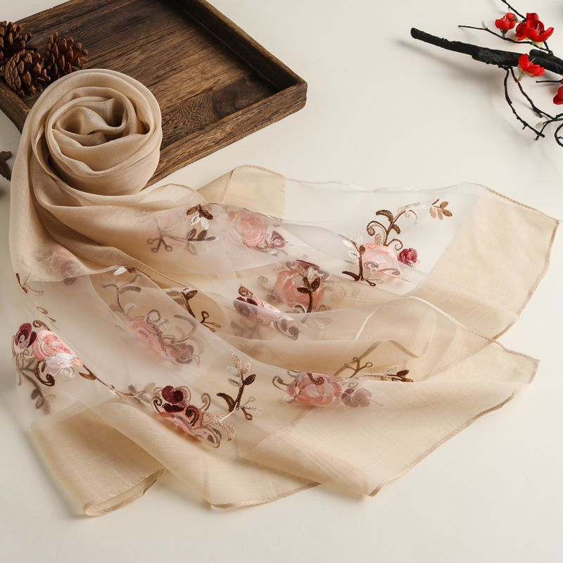 New Spring And Summer Embroidered Ethnic Style Solid Color Scarf Women's Organza Multi-purpose Sunscreen Silk Scarf Shawl 1