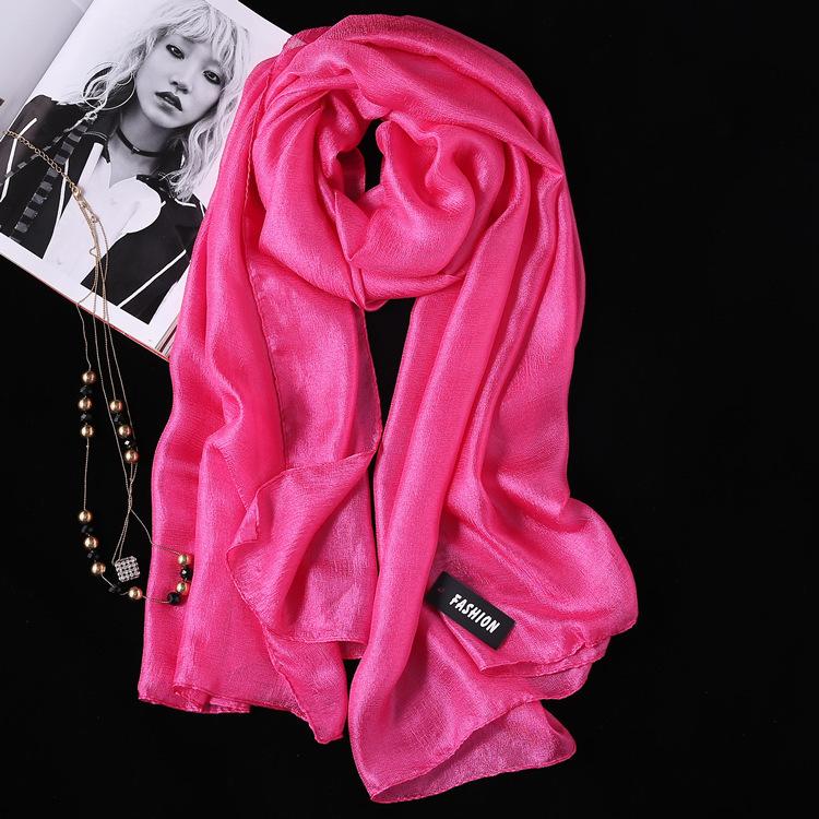 2PCS Summer New Linen Silk Scarf, Seaside Sunscreen Beach Towel Shawl Fashion Gift Solid Color Scarf 5