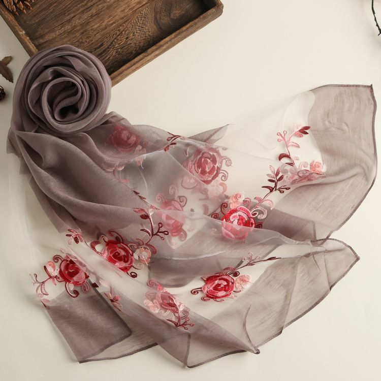 New Spring And Summer Embroidered Ethnic Style Solid Color Scarf Women's Organza Multi-purpose Sunscreen Silk Scarf Shawl 11