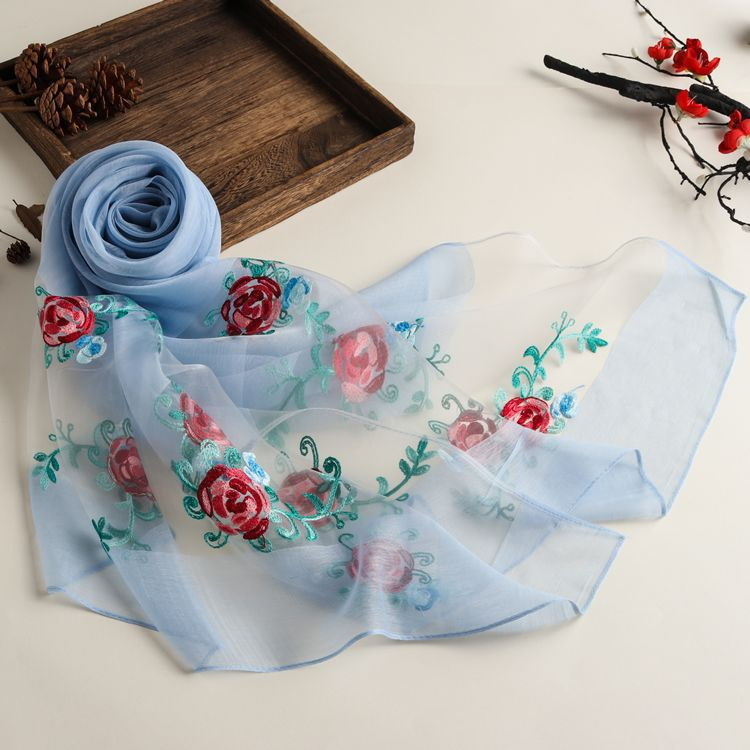 New Spring And Summer Embroidered Ethnic Style Solid Color Scarf Women's Organza Multi-purpose Sunscreen Silk Scarf Shawl 12