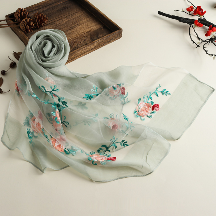 New Spring And Summer Embroidered Ethnic Style Solid Color Scarf Women's Organza Multi-purpose Sunscreen Silk Scarf Shawl 9