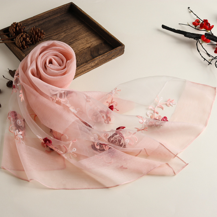 New Spring And Summer Embroidered Ethnic Style Solid Color Scarf Women's Organza Multi-purpose Sunscreen Silk Scarf Shawl 6