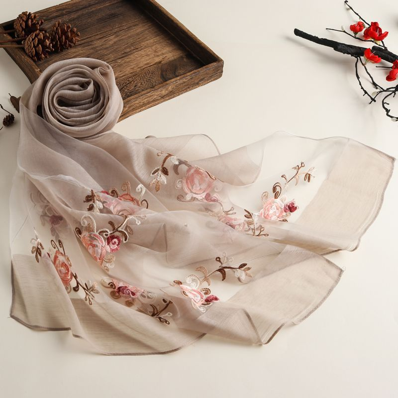 New Spring And Summer Embroidered Ethnic Style Solid Color Scarf Women's Organza Multi-purpose Sunscreen Silk Scarf Shawl 0