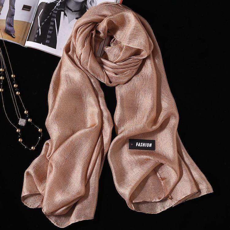 2PCS Summer New Linen Silk Scarf, Seaside Sunscreen Beach Towel Shawl Fashion Gift Solid Color Scarf 7