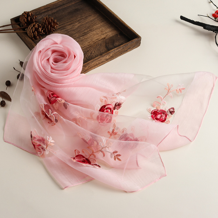 New Spring And Summer Embroidered Ethnic Style Solid Color Scarf Women's Organza Multi-purpose Sunscreen Silk Scarf Shawl 7
