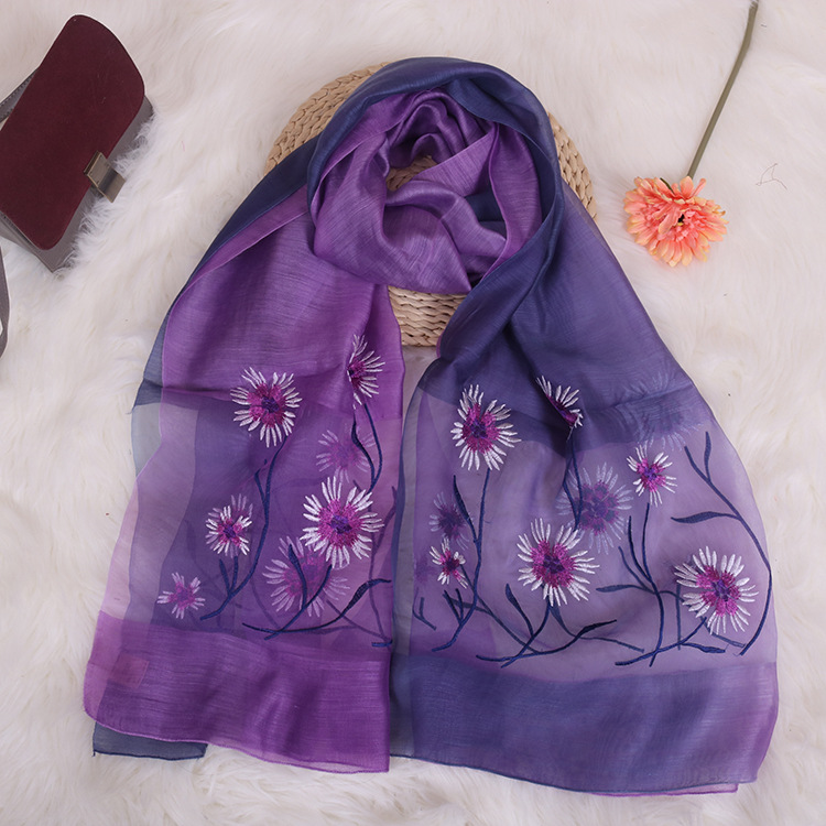 New Embroidery Silk Scarf Silk Wool Scarf Gradient Color Dual-use Sunscreen Female Shawl 5