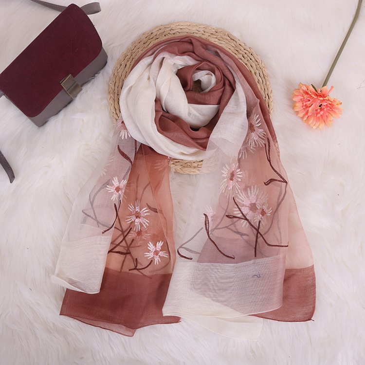 New Embroidery Silk Scarf Silk Wool Scarf Gradient Color Dual-use Sunscreen Female Shawl 4