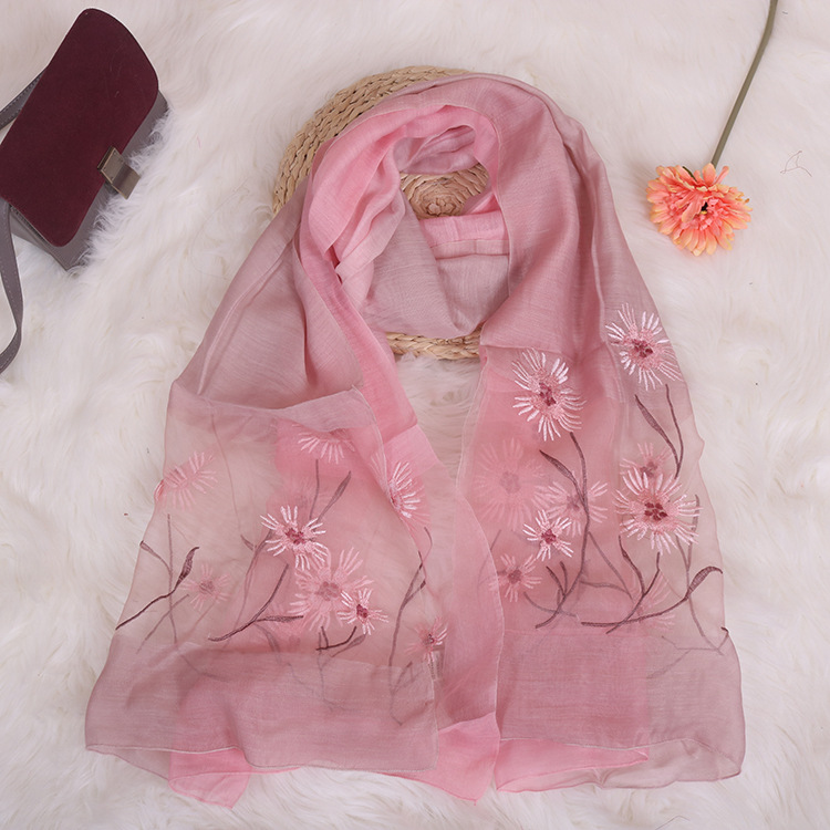 New Embroidery Silk Scarf Silk Wool Scarf Gradient Color Dual-use Sunscreen Female Shawl 1