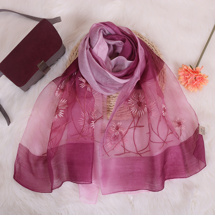 New Embroidery Silk Scarf Silk Wool Scarf Gradient Color Dual-use Sunscreen Female Shawl 6