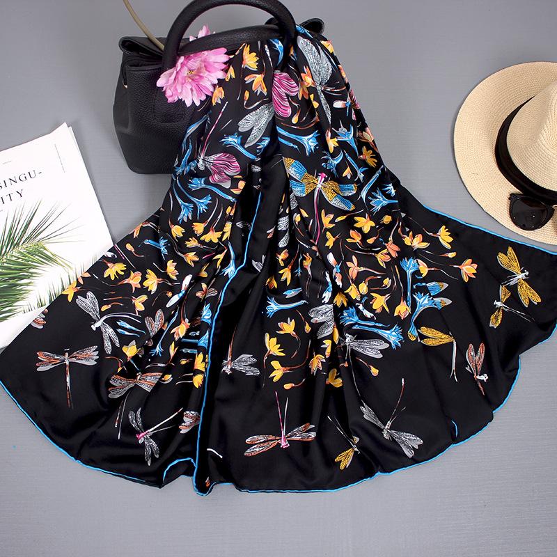 Silk Scarf Women Autumn And Winter Wild Blended Big Square Scarf Thin Shawl Hangzhou Silk Scarf Women Travel Towel 1