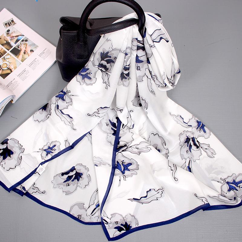 Hangzhou Silk Autumn And Winter New Women's Silk Scarf Wild Light Silk Gauze Sunscreen Mulberry Silk Scarf 8