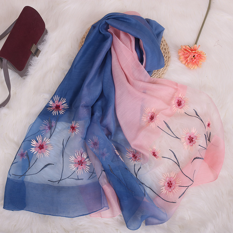 New Embroidery Silk Scarf Silk Wool Scarf Gradient Color Dual-use Sunscreen Female Shawl 2