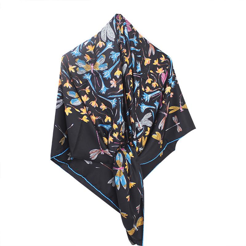 Silk Scarf Women Autumn And Winter Wild Blended Big Square Scarf Thin Shawl Hangzhou Silk Scarf Women Travel Towel 3