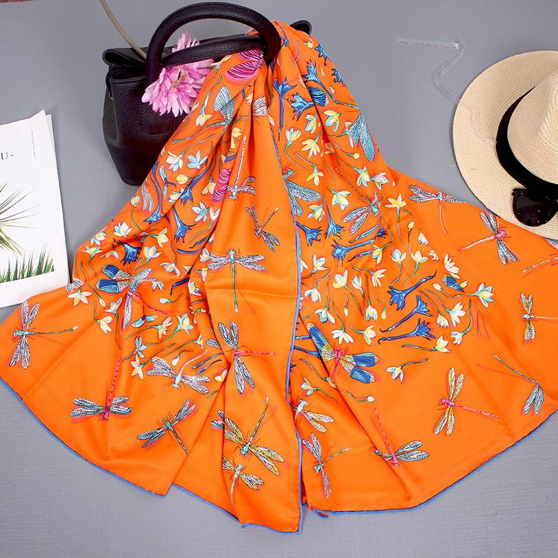 Silk Scarf Women Autumn And Winter Wild Blended Big Square Scarf Thin Shawl Hangzhou Silk Scarf Women Travel Towel 5