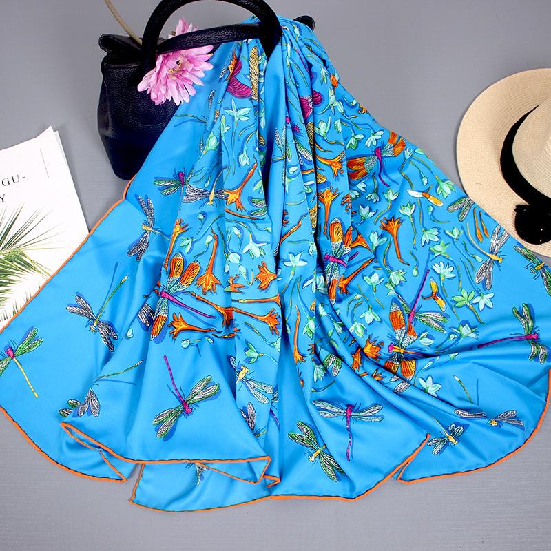 Silk Scarf Women Autumn And Winter Wild Blended Big Square Scarf Thin Shawl Hangzhou Silk Scarf Women Travel Towel 4