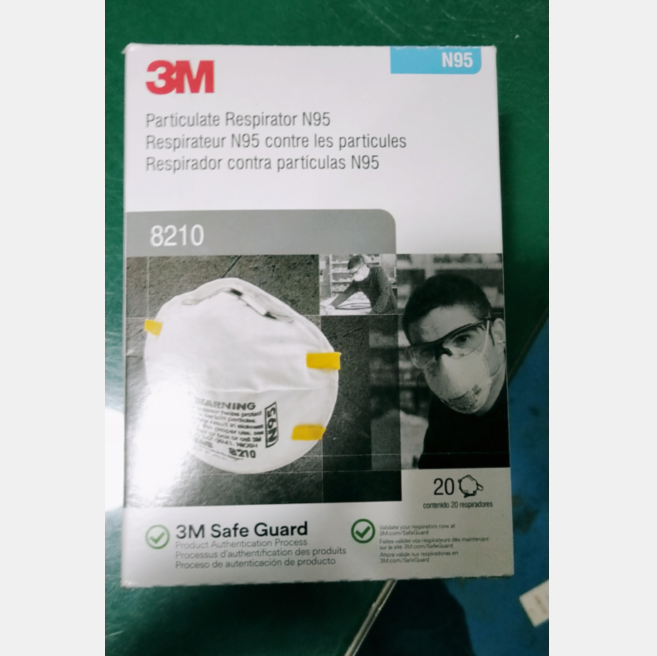 3M 8210 N95 Particulate Respirator NIOSH Approved Disposable Face Mask Box of 20 3