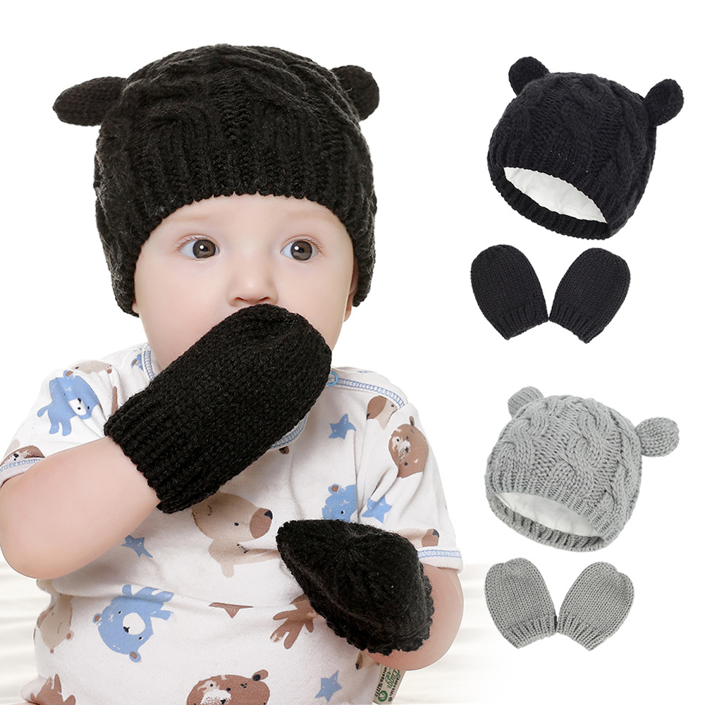 2020 Autumn And Winter Baby Knitted Hats New Hat Gloves Set Cute Little Ears Shape Baby Hats 3