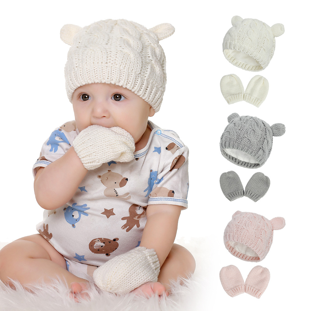 2020 Autumn And Winter Baby Knitted Hats New Hat Gloves Set Cute Little Ears Shape Baby Hats 1