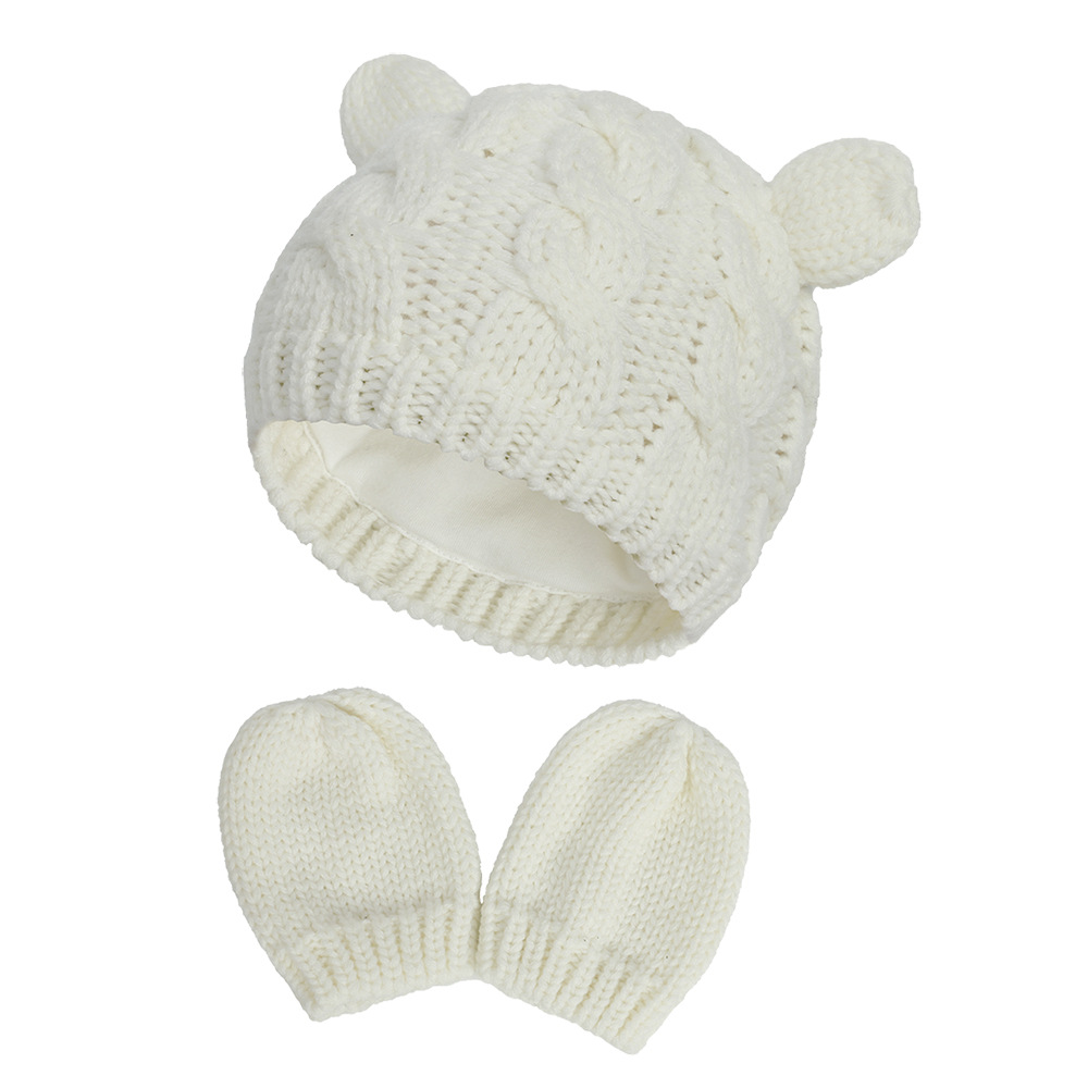 2020 Autumn And Winter Baby Knitted Hats New Hat Gloves Set Cute Little Ears Shape Baby Hats 7