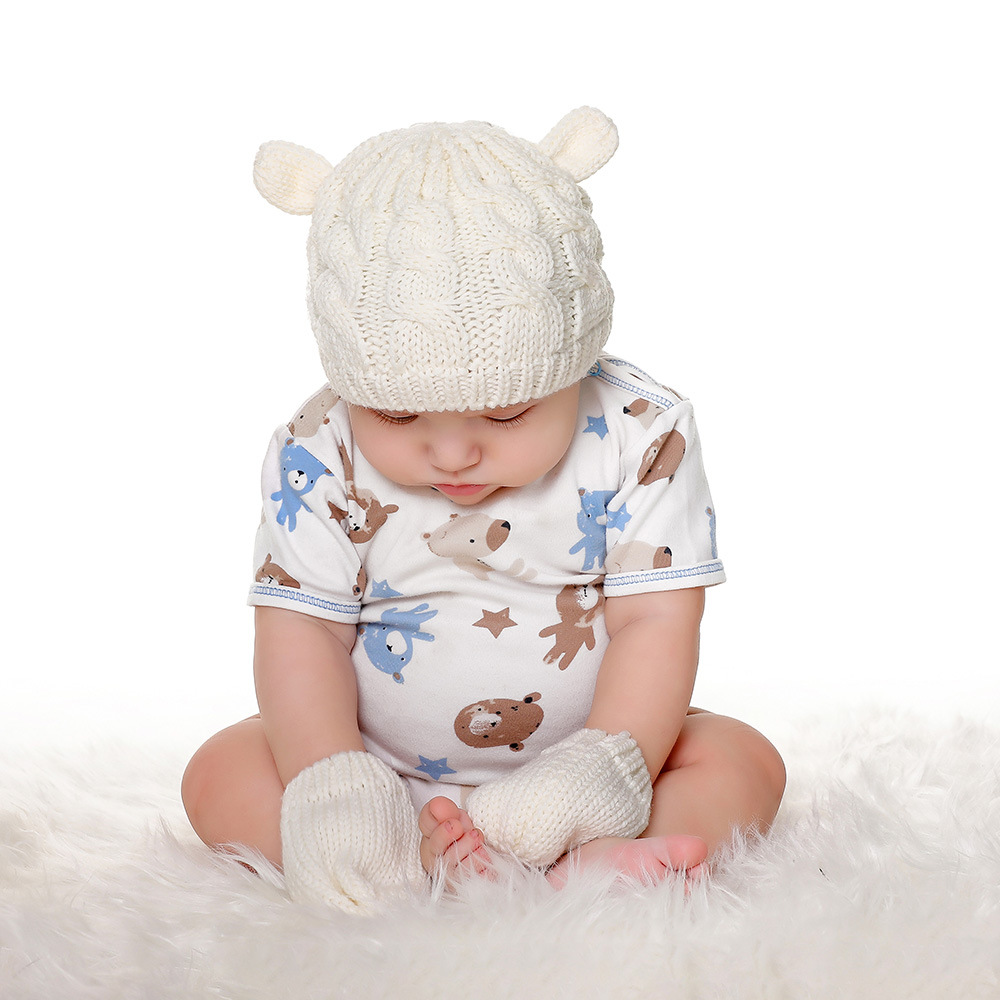 2020 Autumn And Winter Baby Knitted Hats New Hat Gloves Set Cute Little Ears Shape Baby Hats 5