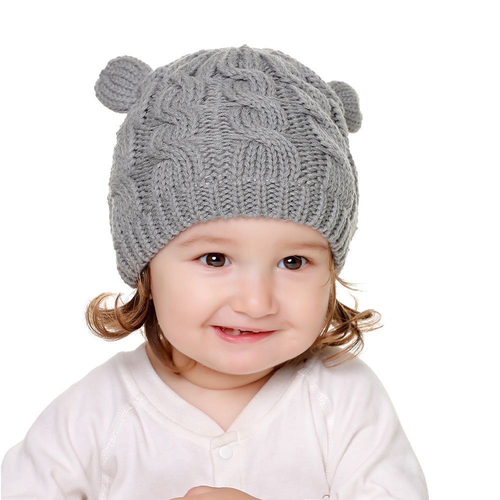 2020 Autumn And Winter Baby Knitted Hats New Hat Gloves Set Cute Little Ears Shape Baby Hats 6