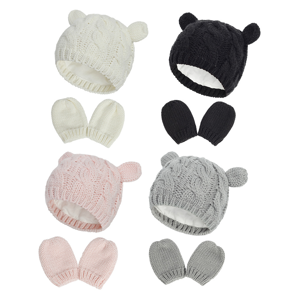2020 Autumn And Winter Baby Knitted Hats New Hat Gloves Set Cute Little Ears Shape Baby Hats 0