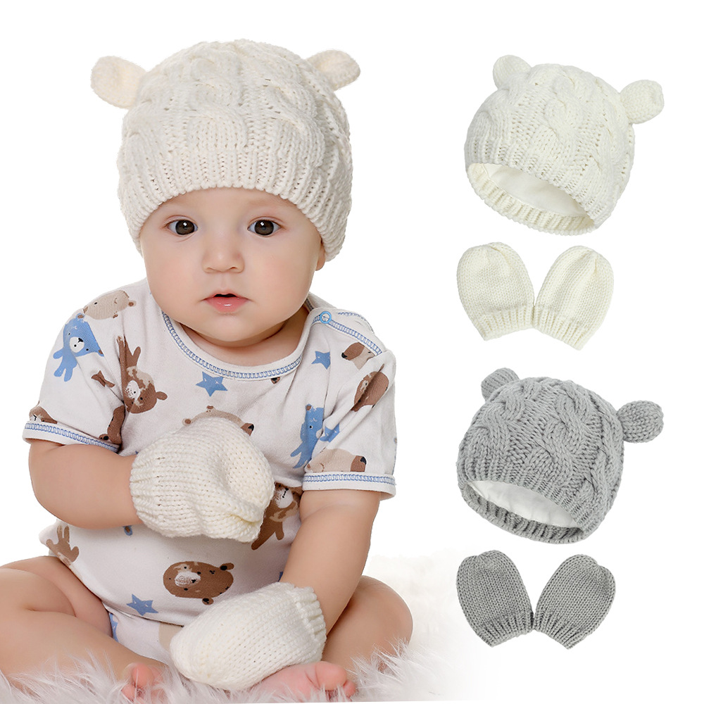 2020 Autumn And Winter Baby Knitted Hats New Hat Gloves Set Cute Little Ears Shape Baby Hats 2