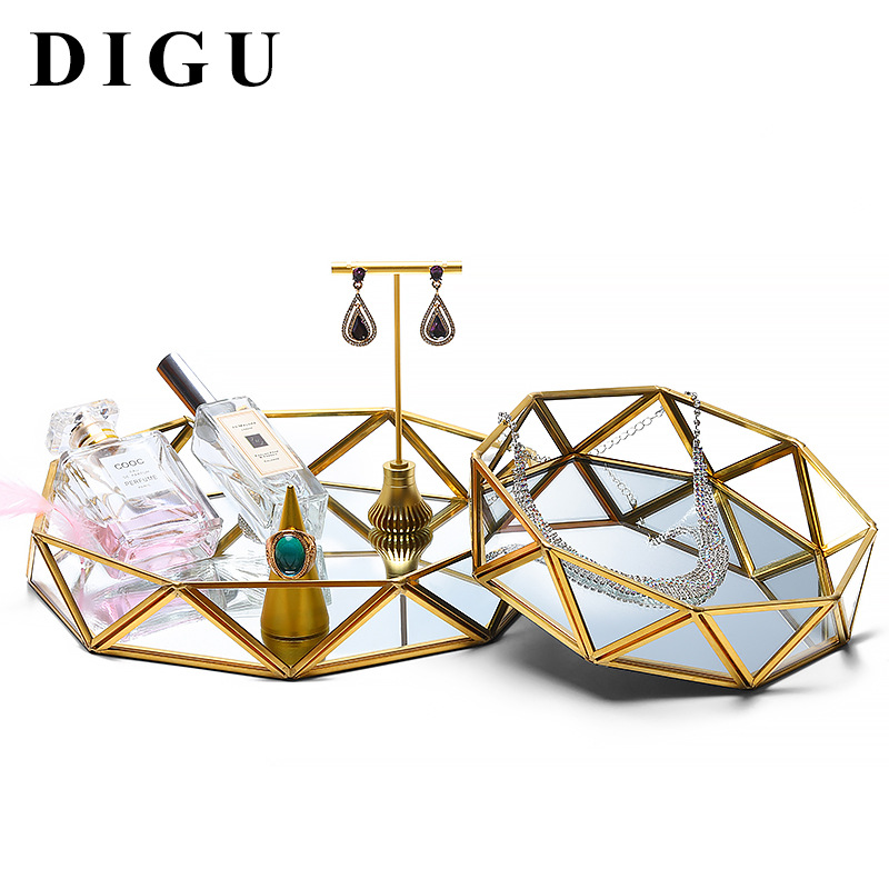 Digu Nordic Earrings Ring Jewelry Storage Tray Metal Glass Transparent Jewelry Display Box Delicate Tray 2