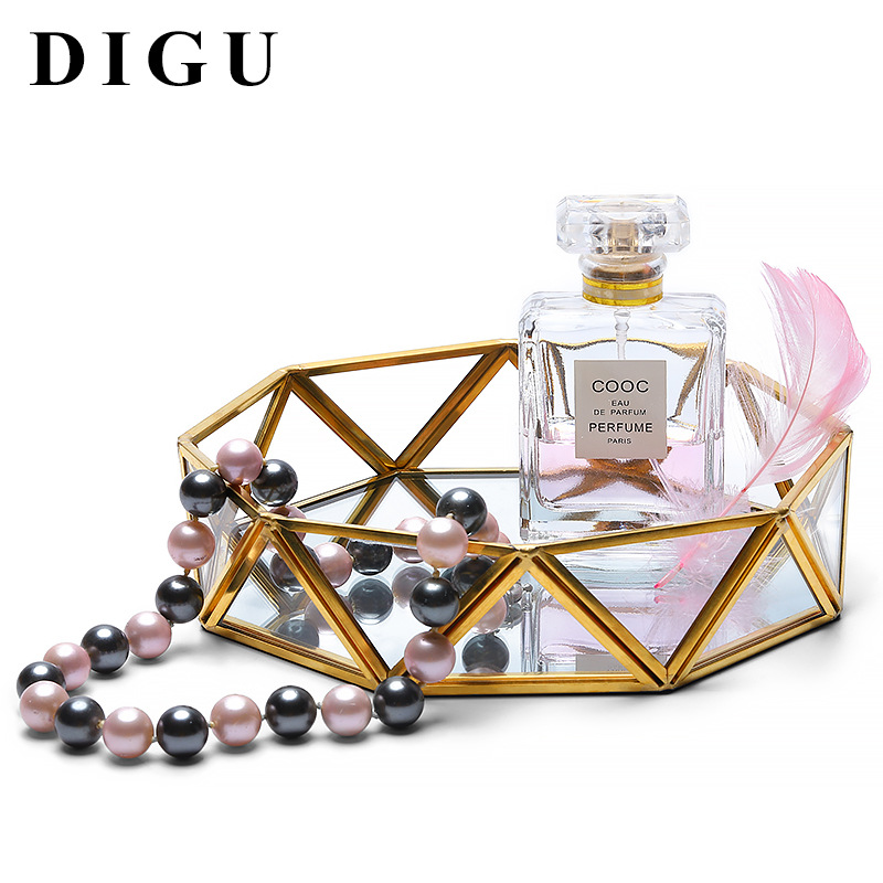 Digu Nordic Earrings Ring Jewelry Storage Tray Metal Glass Transparent Jewelry Display Box Delicate Tray 3