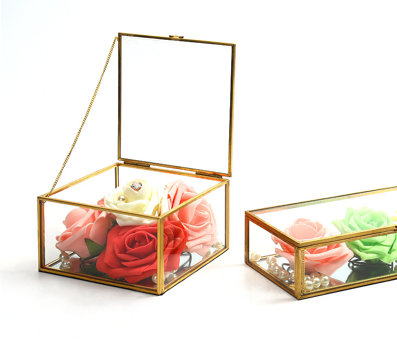 Square Edging Glass Storage Box Jewelry Box Display Props Eternal Flower Glass Box Valentine's Day Gift Box 5