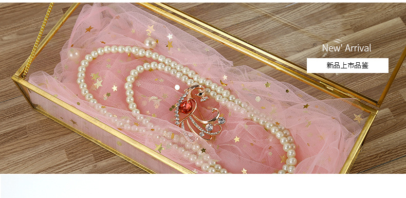 Square Edging Glass Storage Box Jewelry Box Display Props Eternal Flower Glass Box Valentine's Day Gift Box 4