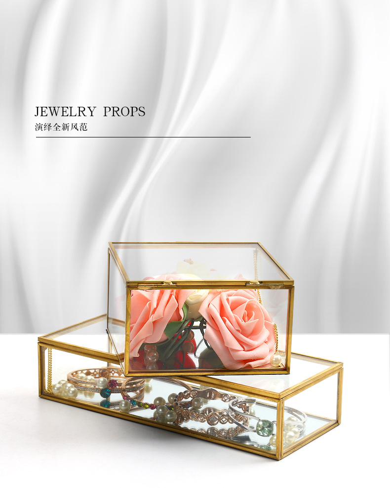 Square Edging Glass Storage Box Jewelry Box Display Props Eternal Flower Glass Box Valentine's Day Gift Box 0