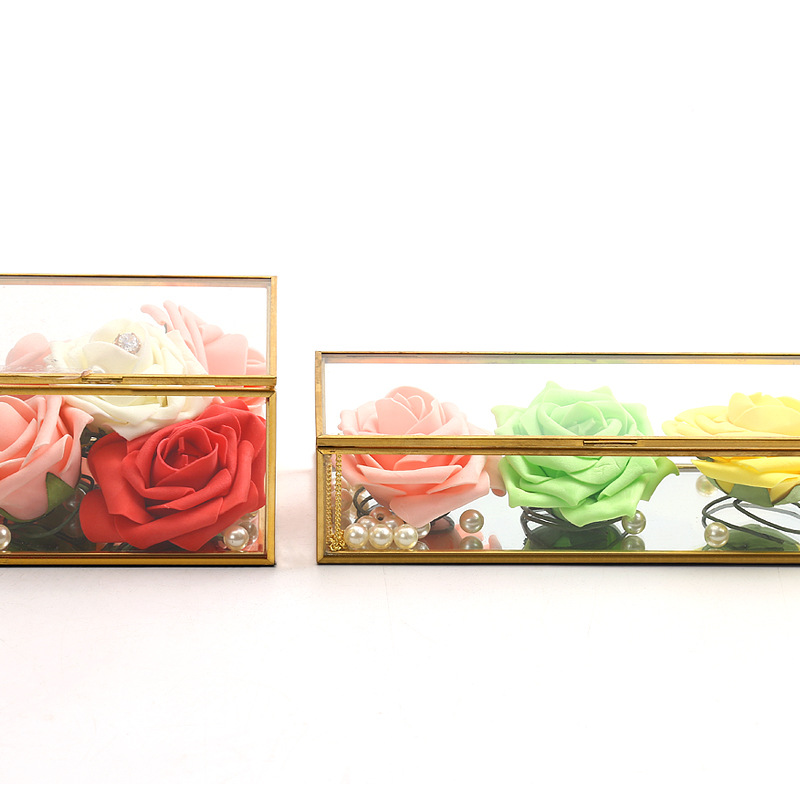 Square Edging Glass Storage Box Jewelry Box Display Props Eternal Flower Glass Box Valentine's Day Gift Box 3