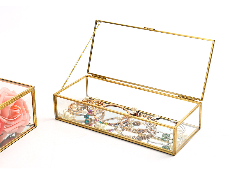 Square Edging Glass Storage Box Jewelry Box Display Props Eternal Flower Glass Box Valentine's Day Gift Box 1