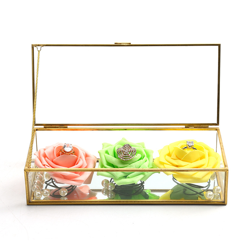 Square Edging Glass Storage Box Jewelry Box Display Props Eternal Flower Glass Box Valentine's Day Gift Box 2