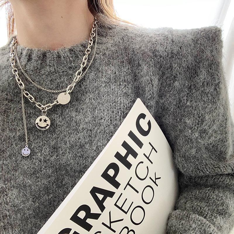 Double-layer Chain Smiley Face Necklace European and American Street Fashion Pendant Clavicle Chain Necklace Trend 0