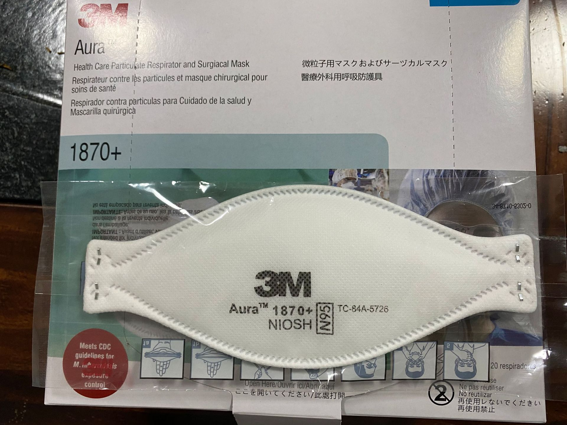 3M Aura 1870+ NIOSH N95 Particulate Respirator and Surgical Mask 20Pcs 0