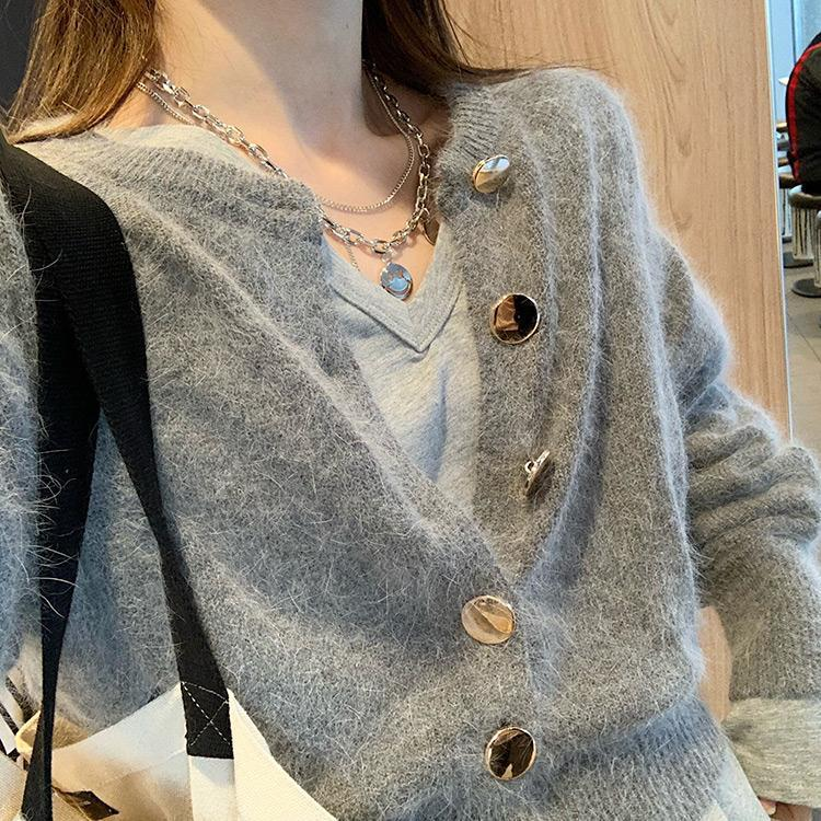 Double-layer Chain Smiley Face Necklace European and American Street Fashion Pendant Clavicle Chain Necklace Trend 3