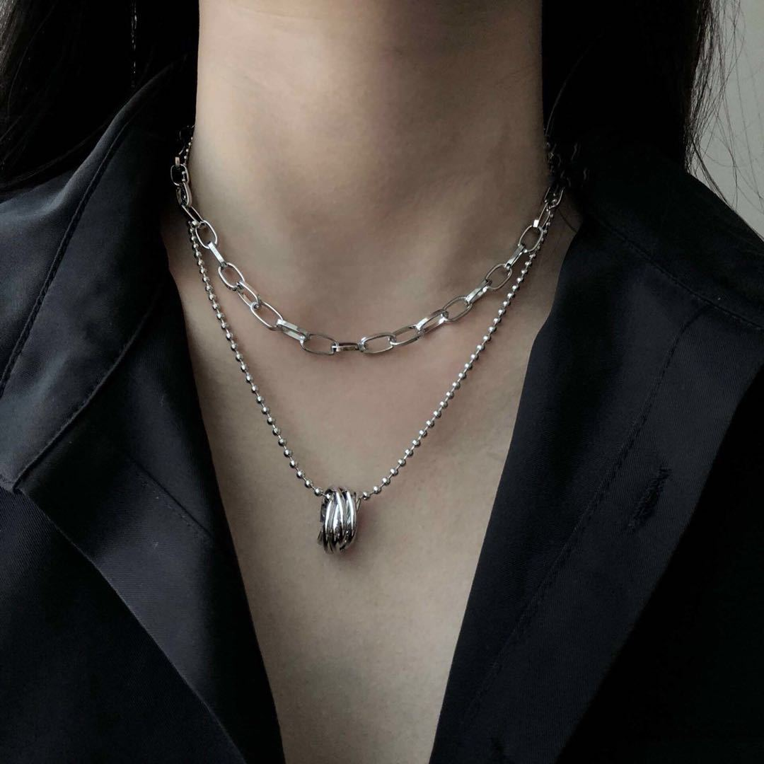 Korean Multilayer Ring Temperament Necklace Cold Sexy Clavicle Chain Necklace Hip Hop Necklace 0
