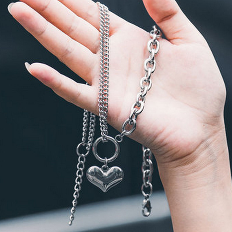Love Thick Chain Stitching Peach Heart Exaggerated Jump Di Harajuku Retro Personality Titanium Steel Necklace Jewelry 1