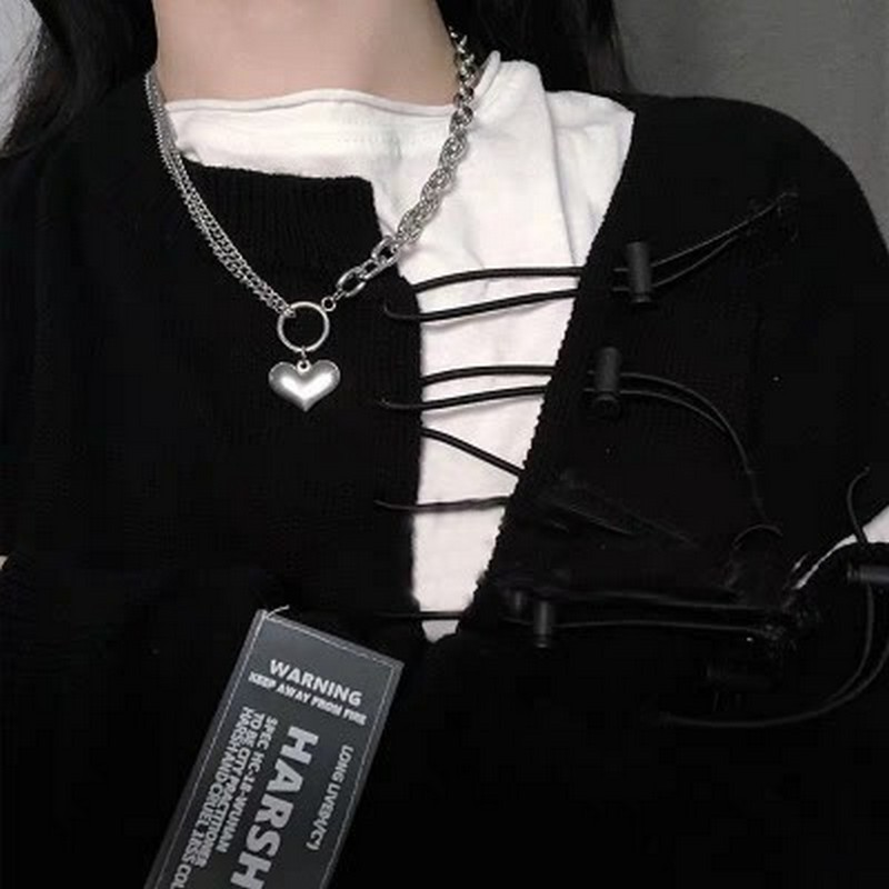 Love Thick Chain Stitching Peach Heart Exaggerated Jump Di Harajuku Retro Personality Titanium Steel Necklace Jewelry 0