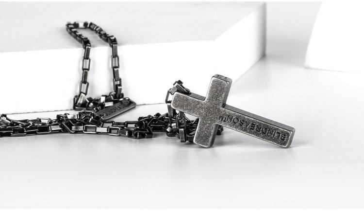 Personality Sweater Chain Trend Jewelry Titanium Steel Cross Faith Power Retro Silver Necklace Men And Women Couple Pendant 4