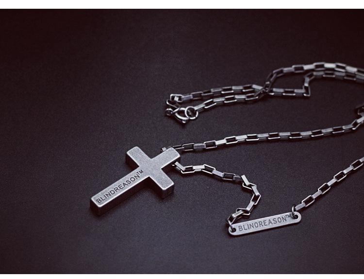 Personality Sweater Chain Trend Jewelry Titanium Steel Cross Faith Power Retro Silver Necklace Men And Women Couple Pendant 0