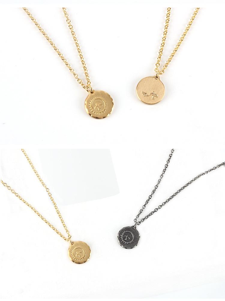 Medieval Gaucho Sun Bird Small Gold Cake Pendant Necklace Simple Retro Couple Sweater Chain Jewelry 3