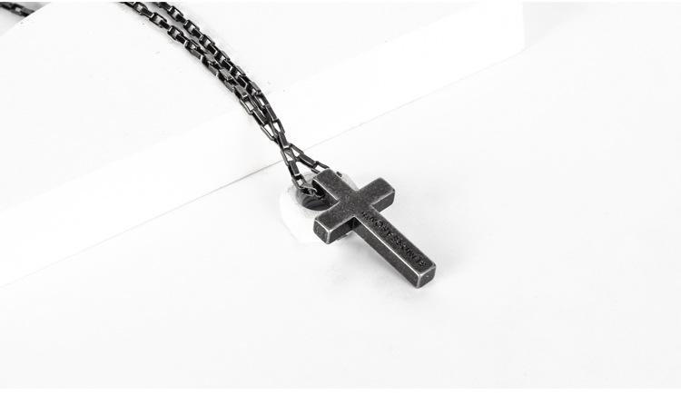 Personality Sweater Chain Trend Jewelry Titanium Steel Cross Faith Power Retro Silver Necklace Men And Women Couple Pendant 3