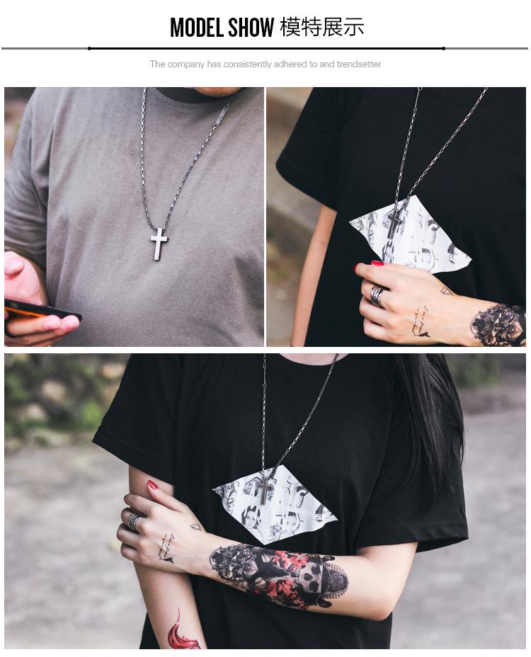 Personality Sweater Chain Trend Jewelry Titanium Steel Cross Faith Power Retro Silver Necklace Men And Women Couple Pendant 1