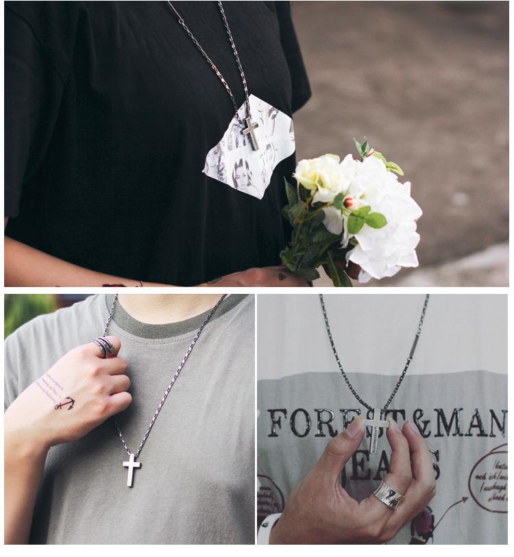 Personality Sweater Chain Trend Jewelry Titanium Steel Cross Faith Power Retro Silver Necklace Men And Women Couple Pendant 2